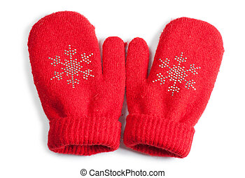 Baby mittens - Red little baby mittens/gloves isolated on...