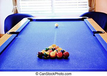 old pool table - pool ball on old pool table