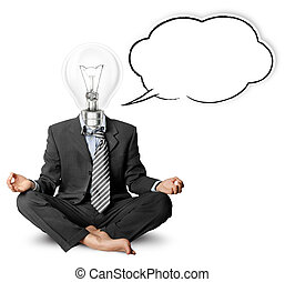 lamp-head businessman in lotus pose with speech bubble,...