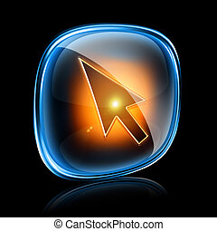 cursor icon neon, isolated on black background