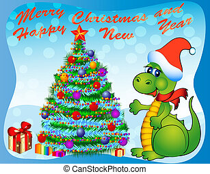 merry dragon with fir tree and gift