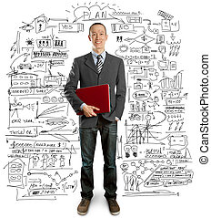 male in suit with laptop in his hands - male businessman in...