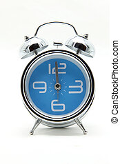 isolated light blue alarm clock on white