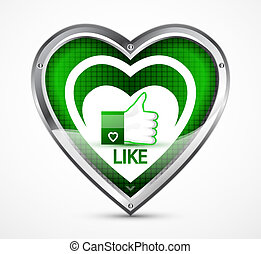 Like sign - Vector illustration of like sign in heart