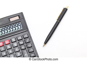 calculator and pen - isolated calculator and pen on white...