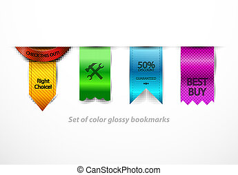 Vector clean glossy bookmarks - Color ribbons hanging....