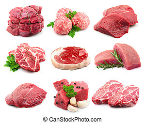 Meat collectionon the white