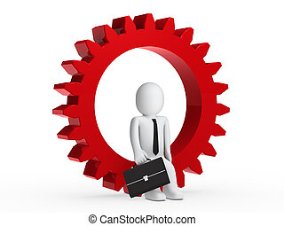 Businesman sitting in red gear - Businesman with briefcase...