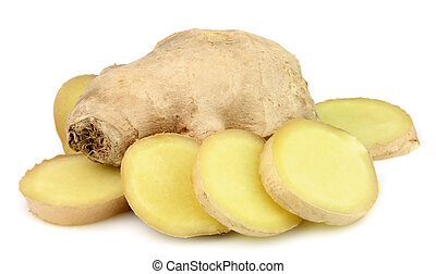 Ginger root on a white background.