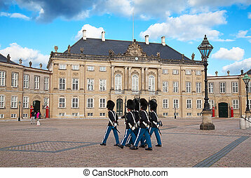 Amalienborg castle - Royal Gard near Amalienborg castle in...
