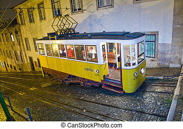 Lisbon at night, famous tram, historic streetcar is running...