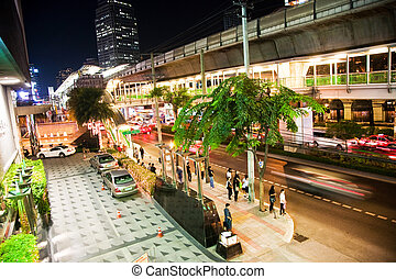 Main road in Bangkok by night