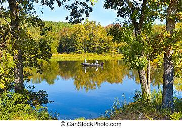 Fall Fishing Trip - Scenic shot of fishing in southeastern...