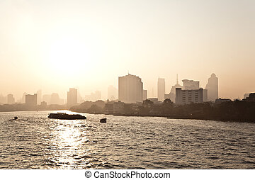 cityview of Bangkok with river in golden sunrise -...
