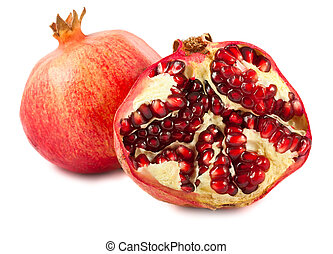 Ripe pomegranate - Pomegranate isolated on a white...