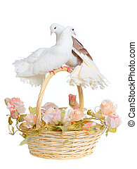 Basket with decorative doves