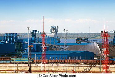 Work of new sea trading port of the Ust-Luga Russia The coal...