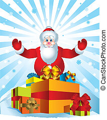 Santa Clause creating magic by giving presents