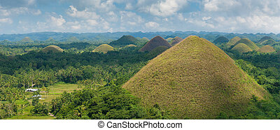 chocolate hills, Philippines - panoramic view over the...
