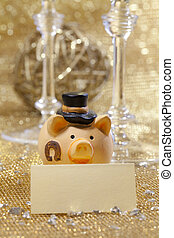 Happy new year pig with tag