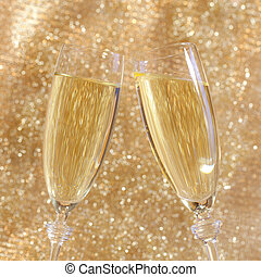 Champagne toast with two glasses