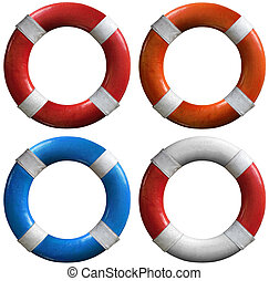 Set of life buoys - Four life buoys of various colors: red...