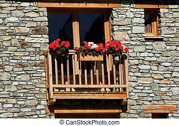 chalet and flowers