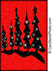 Folk Art Style Christmas trees - Silhouettes of folk art...