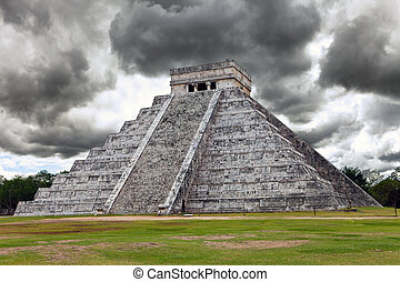 Kukulkan Pyramid in Chichen Itza on the Yucatan