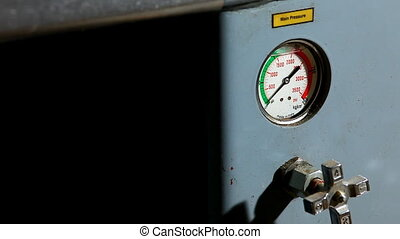 industrial pressure barometer at work close-up