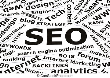 SEO Concept - SEO concept with other related words printed...