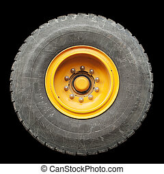 Isolated Truck Tire - A truck tire from a large mobile crane...