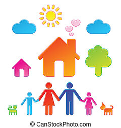 Pictograms which represent family and their surrounding