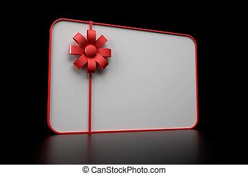 3d illustration of gift card over black background