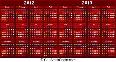 Calendar of dark red color - Template of a calendar for 2012...