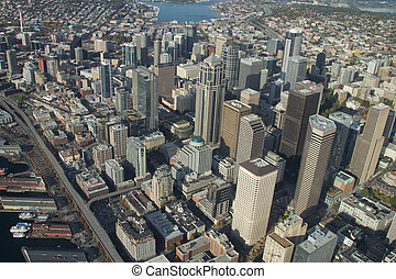 Aerial view of Metropolitan Area - Downtown Seattle from...