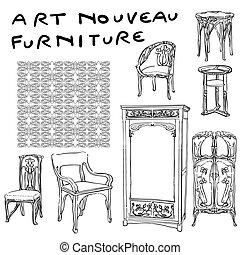 jugendstil furniture doodles - authentic art nouvea...