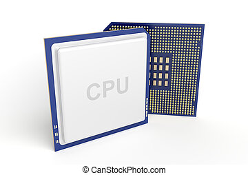 Computer processors on white background