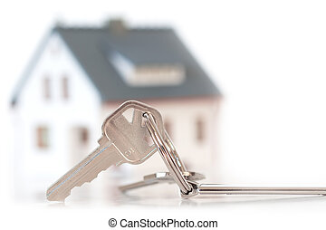 keys with house - keys with blurred house on background