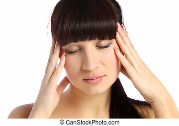 young attractive woman with an awful migraine - The young...