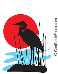 Heron - vector illustration of a heron