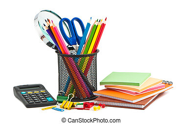 Office appliances for business on white background.
