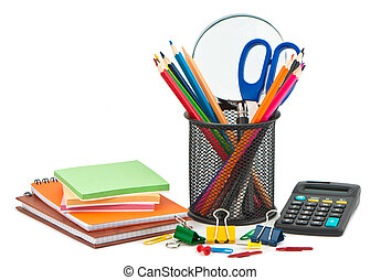Stationery on white background for office or school