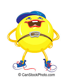yellow ball in the blue cap and sneakers with a smile stands...