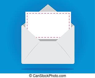 Envelope - Floating open envelope with letter