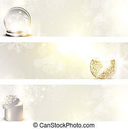 Christmas banner set with holiday elements and copyspace