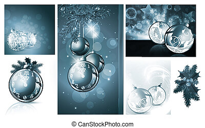 New year and Christmas backgrounds collection