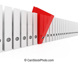 Red folder - 3d illustration of red folder within white
