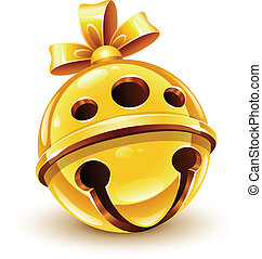 christmas gold bell with bow vector illustration isolated on...