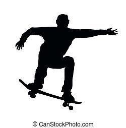 Skateboarding Jump - Skateboarding Skater do Ollie Jump with...